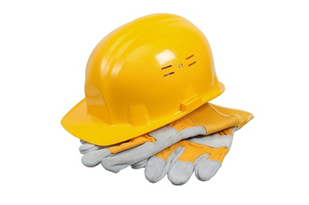 Tools and helmet of the builder, it is isolated on white Stock Photo