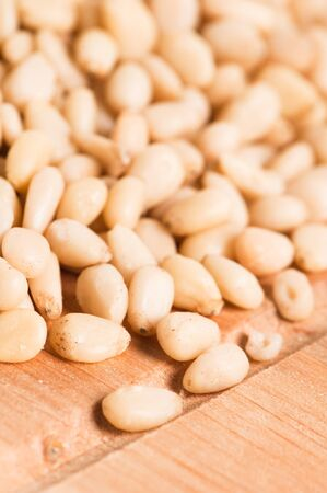 pine nuts background,  Close up photo