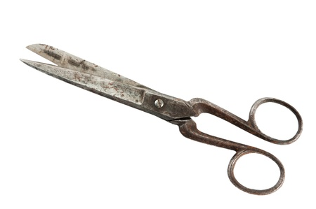 Old fashioned scissors  it is isolated on white Stock Photo - 11877780