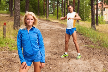 young people are engaged in fitness outdoors photo