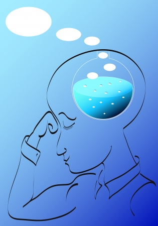 chemical reaction: Man thinking. Chemical reaction of a birth of idea