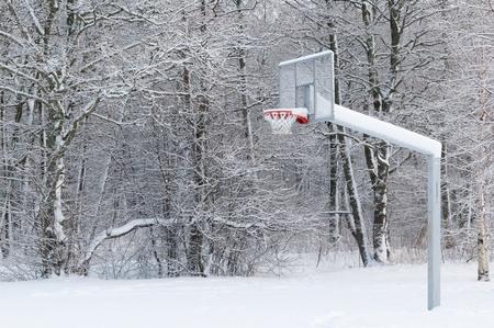 Basketball ground fallen asleep by a snow photo