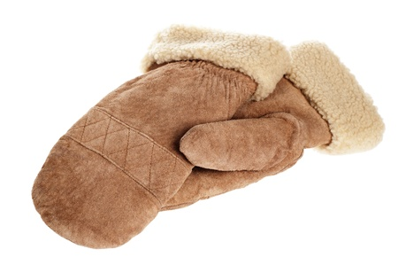 furskin: the winter fur mittens, isolated on white
