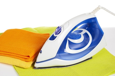 Electric iron, it is isolated on white Stock Photo