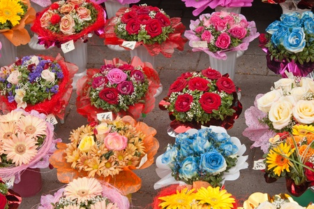 variety of bouquets of flowers, close-up photo
