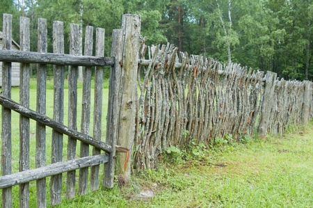 old wooden fence in the countryside photo
