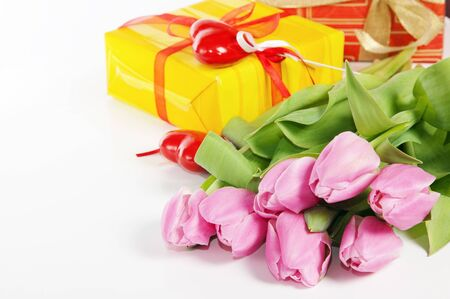 Pink tulips and gift box photo
