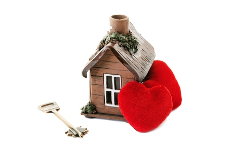 housewarming: Key and heart on the white background