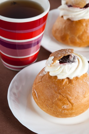 Rich rolls with a whipped cream,  easter bun photo