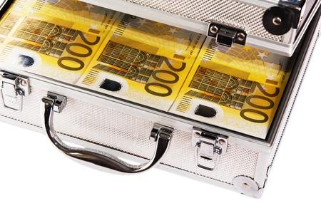 Metallic case full of Euro Reklamní fotografie