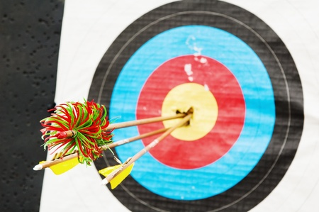 arrows in the center of the target Stock Photo - 12631998