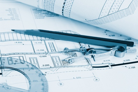 Blueprints - professional architectural drawings Stock Photo