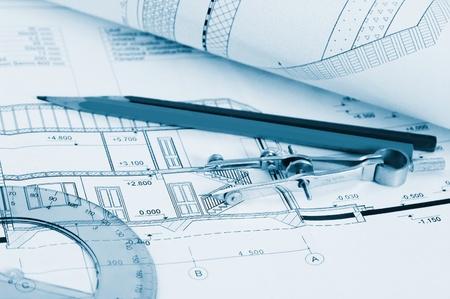 Blueprints - professional architectural drawings Banco de Imagens