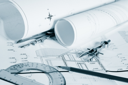 architecture project: Blueprints - professional architectural drawings Stock Photo