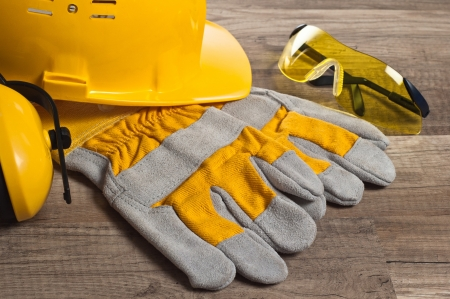 protective wear: Standard construction safety equipment Stock Photo