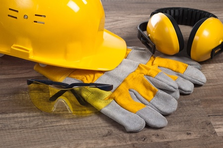 safety wear: Standard construction safety equipment Stock Photo