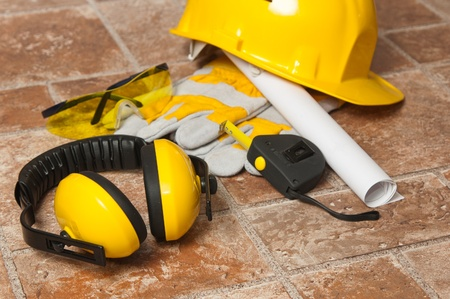 construction safety: Standard construction safety equipment Stock Photo
