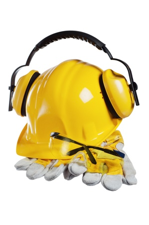 protective wear: Standard construction safety equipment, it is isolated on white