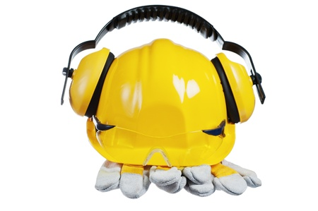 Standard construction safety equipment, it is isolated on white Stock Photo - 12879790