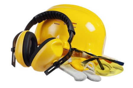 safety gloves: Standard construction safety equipment, it is isolated on white