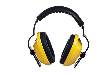 ear protection: Yellow working protective headphones, it is isolated on white