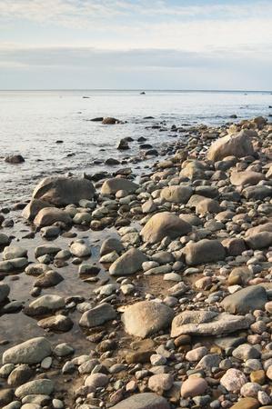 Stony coast of Baltic sea Stock Photo