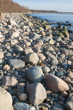 stony: Stony coast of Baltic sea Stock Photo