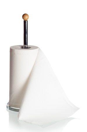 unwound: Kitchen paper towels on holder, it is isolated on white