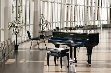 piano: Piano de cola en la sala brill� por el sol