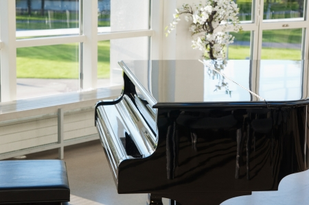 grand design: Grand piano in the hall shined by the sun