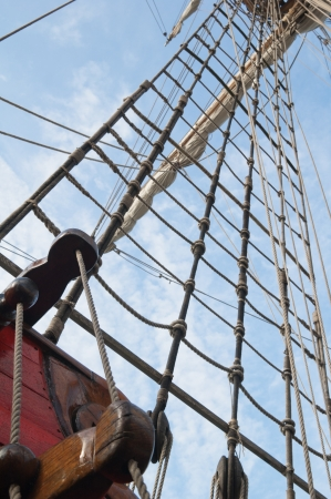 Rigging of an ancient sailing vessel Stock Photo - 13856346