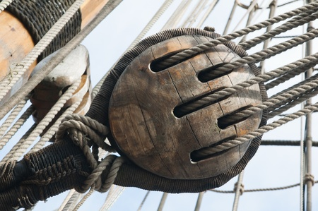 Rigging of an ancient sailing vessel photo