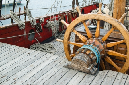 Steering wheel of an ancient sailing vessel Stock Photo - 13856384