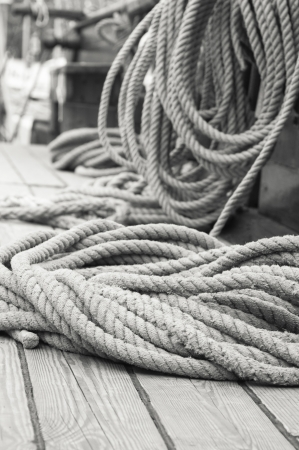 Rigging of an ancient sailing vessel Stock Photo - 13856361