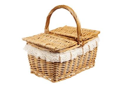 Picnic basket, isolated on white photo