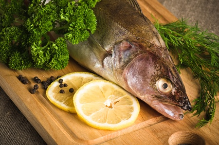 Pike perch on a wooden kitchen board, it is isolated on white Stock Photo - 15563186