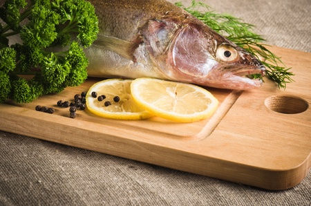 Pike perch on a wooden kitchen board, it is isolated on white photo