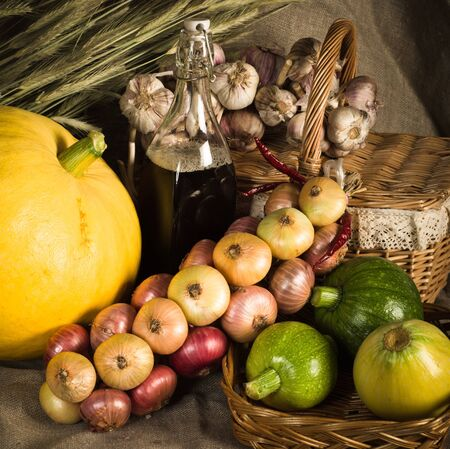 Still-life with vegetables in rural style photo