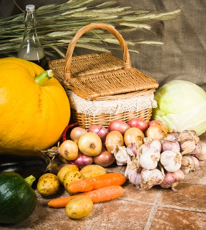 still life with vegetables and a basket Stock Photo - 16098990