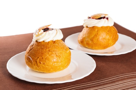 choux bun: Rich rolls with a whipped cream,  easter bun Stock Photo