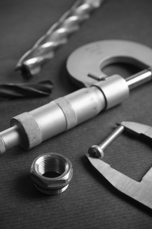 width: Details, drills and measuring tools, a close up Stock Photo