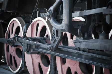 Details of an old steam locomotive, a close up photo