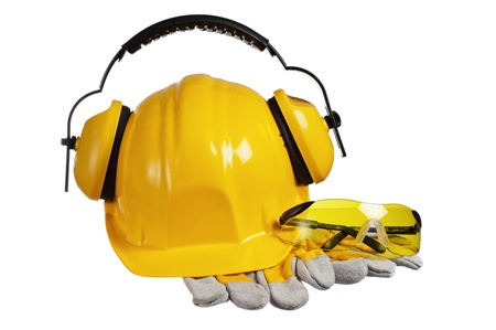 Standard construction safety equipment, it is isolated on white Stock Photo - 16236380
