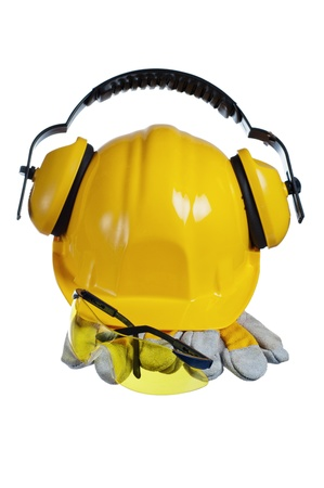 Standard construction safety equipment, it is isolated on white Stock Photo - 16236381