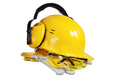 Standard construction safety equipment, it is isolated on white Stock Photo - 16236379