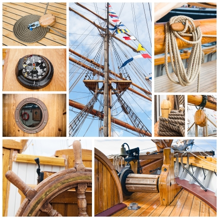 dinghies: Ancient sailing vessel collage Yachting concept