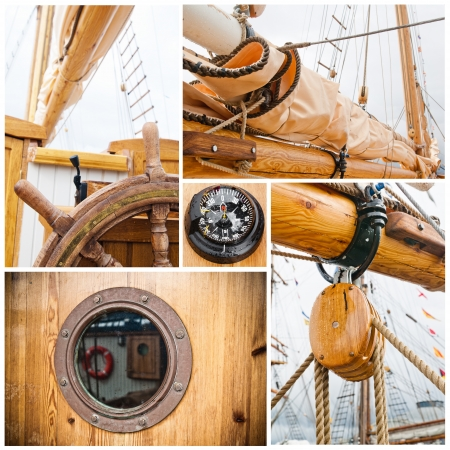 Ancient sailing vessel collage Yachting concept