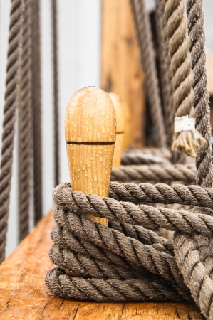 Close-up shot of rope  Taken at a shipyard  photo