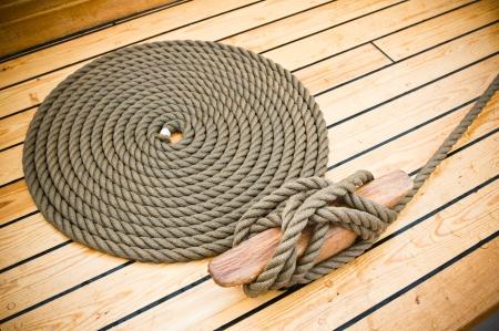 Close-up shot of rope  Taken at a shipyard