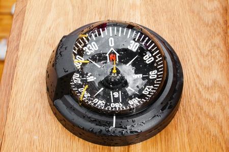 bar magnet: yacht compass, close-up